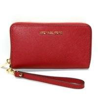 Michael KorsJet Set Travel Flat Phone Case Leather Wallet/ Clutch/ Wristlet Cherry