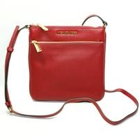 Michael KorsRiley Genuine Leather Flat Crossbody Bag Cherry Red