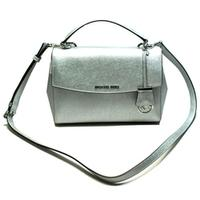 Michael KorsAva Small Satchel Leather Crossbody Bag Silver