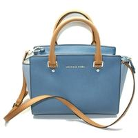 Michael KorsMedium Selma Leather Satchel/ Shoulder Bag Denim Blue/ Brown