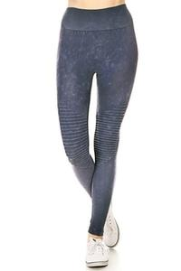 ZwappWomen Denim Blue Vintage Wash Moto Leggings Size L New